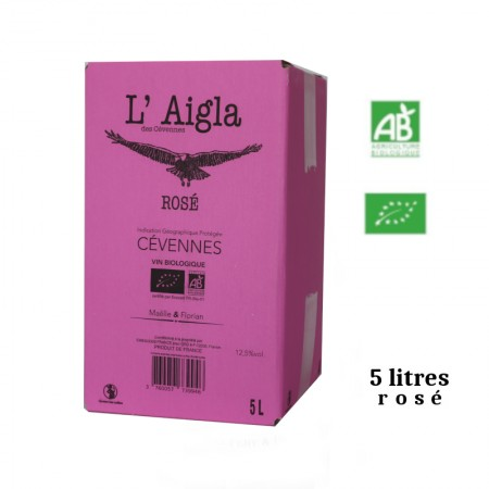Vins Falguières L'AIGLA igp des Cévennes BIB rosé 5 L